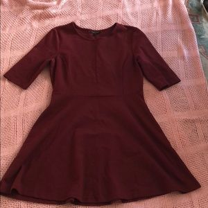 Burgundy 3/4 Sleeve Skater Dress
